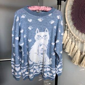 80's Vintage Slouchy Cat Crewneck Sweater
